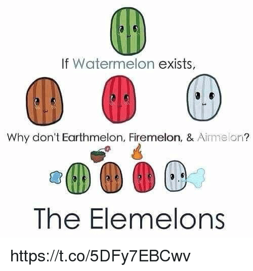 Girl Memes, Watermelon, and Why: If Watermelon  exists,  Why don't Earthmelon, Firemelon, & Aime on  The Elemelons https://t.co/5DFy7EBCwv