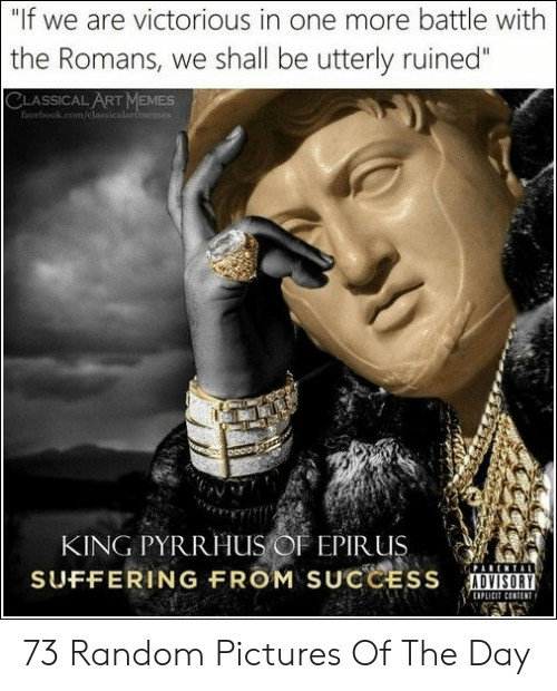 """Victorious: """"If we are victorious in one more battle with  the Romans, we shall be utterly ruined""""  CLASSICAL ART MEMESs  facebook.com/classicalartimemes  KING PYRRHUS OF EPIR US  SUFFERING FROM SUCCESS  EIPL 73 Random Pictures Of The Day"""