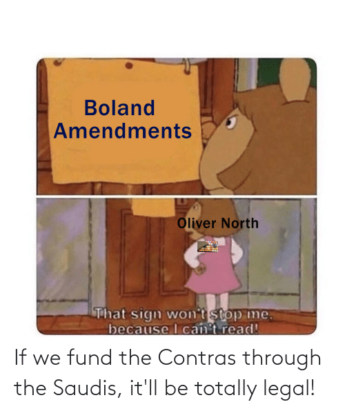 Fund: If we fund the Contras through the Saudis, it'll be totally legal!