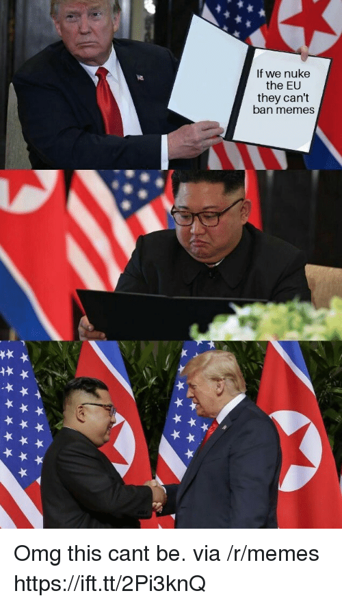 Memes, Omg, and Via: If we nuke  the EU  they can't  ban memes Omg this cant be. via /r/memes https://ift.tt/2Pi3knQ