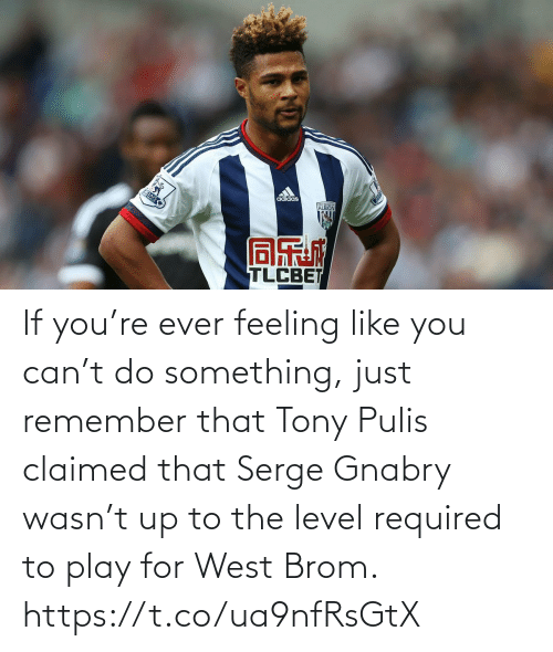 play: If you're ever feeling like you can't do something, just remember that Tony Pulis claimed that Serge Gnabry wasn't up to the level required to play for West Brom. https://t.co/ua9nfRsGtX