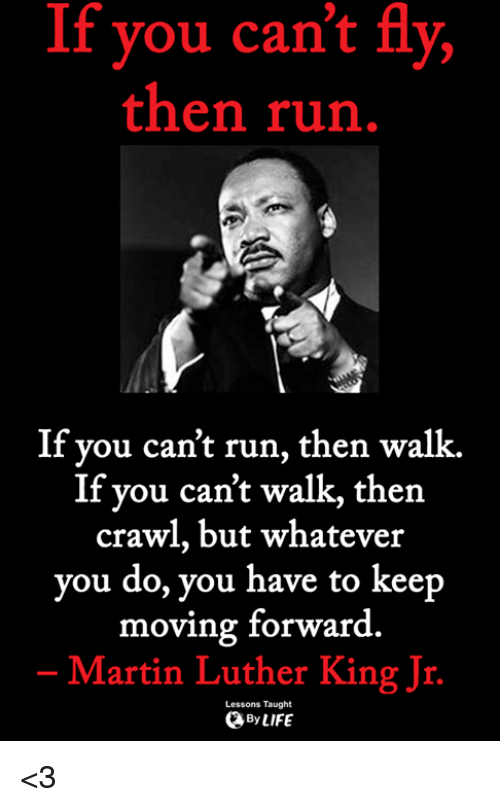 Martin, Martin Luther King Jr., and Memes: If you can't fly,  then run  If you can't run, then walk.  If you can't walk, then  crawl, but whatever  you do, you have to keep  moving forward  Martin Luther King Jr.  Lessons Taught  ByLIFE <3