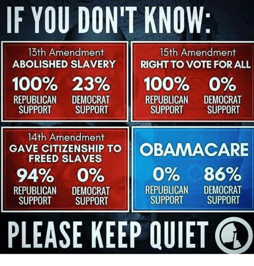 Anaconda, Memes, and Obamacare: IF YOU DON'T KNOW:  13th Amendment  ABOLISHED SLAVERY  15th Amendment  RIGHT TO VOTE FOR ALL  11  100% 23% 11 100% 0%  REPUBLICAN DEMOCRAT  SUPPORT SUPPORT  REPUBLICAN DEMOCRAT  SUPPORT SUPPORT  14th Amendment  FREED SLAVES  VR CTNSH TO OBAMACARE  94% 0%  REPUBLICAN DEMOCRAT  SUPPORT SUPPORT  REPUBLICAN DEMOCRAT  SUPPORT SUPPORT  PLEASE KEEP QUIET Q
