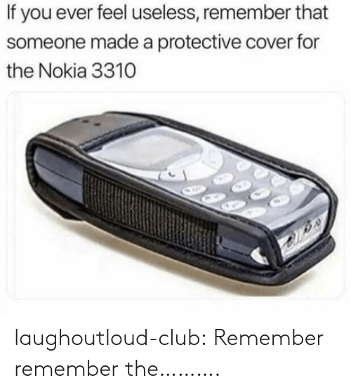 Club, Tumblr, and Blog: If you ever feel useless, remember that  someone made a protective cover for  the Nokia 3310 laughoutloud-club:  Remember remember the……….