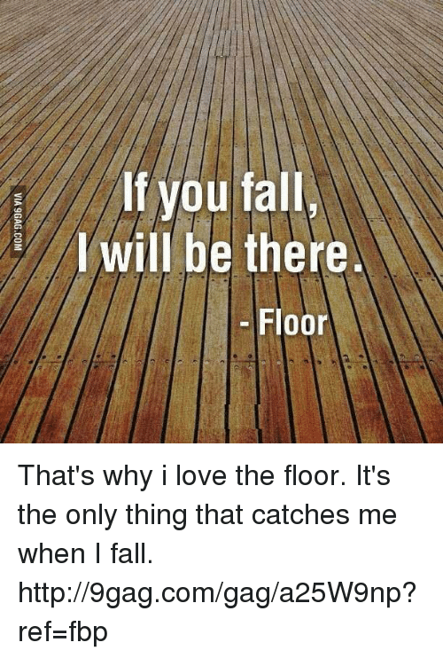 Dank, 🤖, and Via: If you fall  I will be there.  Floor  VIA 9GAG.COM That's why i love the floor. It's the only thing that catches me when I fall. http://9gag.com/gag/a25W9np?ref=fbp