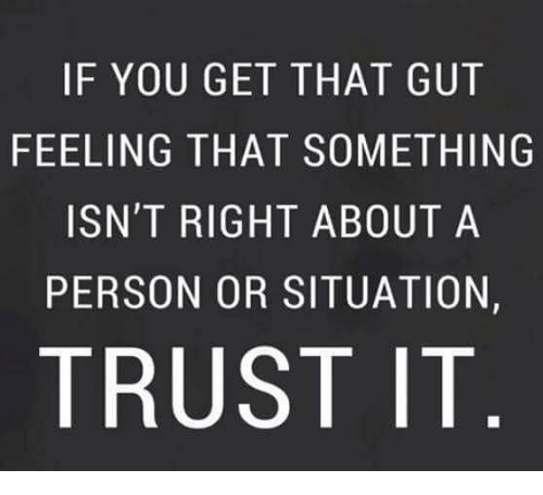 Memes, 🤖, and You: IF YOU GET THAT GUT  FEELING THAT SOMETHING  ISN'T RIGHT ABOUT A  PERSON OR SITUATION,  TRUST IT