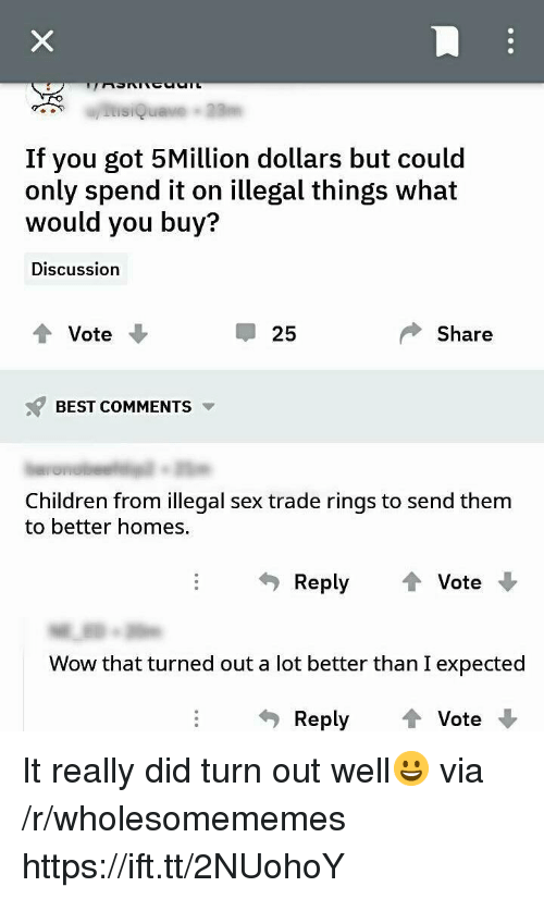 Children, Sex, and Wow: If you got 5Million dollars but could  only spend it on illegal things what  would you buy?  Discussion  t Vote  25  Share  BEST COMMENTS  Children from illegal sex trade rings to send them  to better homes.  Reply Vote  Wow that turned out a lot better than I expected  Reply  ↑ Vote. It really did turn out well😀 via /r/wholesomememes https://ift.tt/2NUohoY