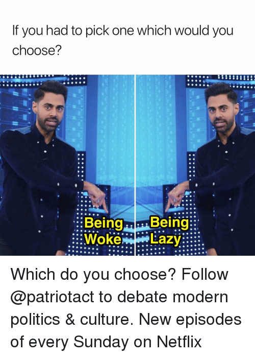 Memes, Netflix, and Politics: If you had to pick one which would you  choose?  .0  p.  Being Beir  ::WokeLazy::: Which do you choose? Follow @patriotact to debate modern politics & culture. New episodes of every Sunday on Netflix