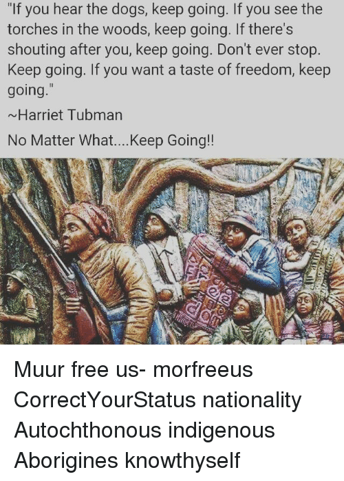 """Harriet Tubman: """"If you hear the dogs, keep going. If you see the  torches in the woods, keep going. If there's  shouting after you, keep going. Don't ever stop.  Keep going. If you want a taste of freedom, keep  going.""""  ~Harriet Tubman  No Matter What....Keep Going! Muur free us- morfreeus CorrectYourStatus nationality Autochthonous indigenous Aborigines knowthyself"""