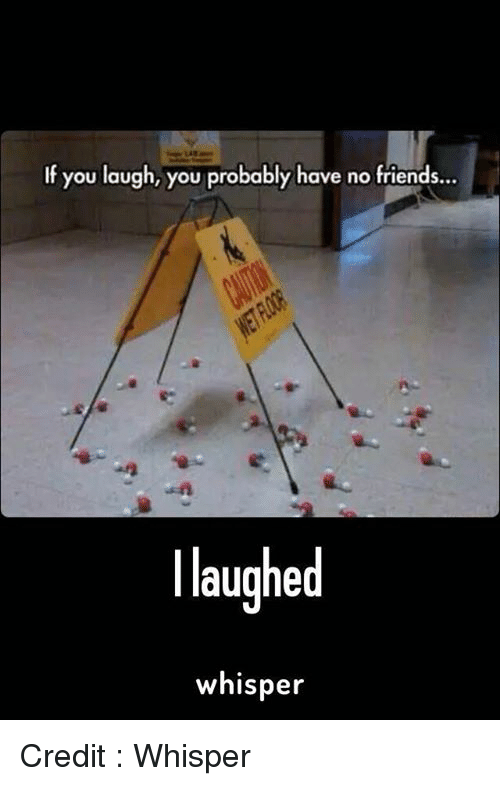 friends laughing: If you laugh, you probably have no friends...  laughed  whisper Credit : Whisper