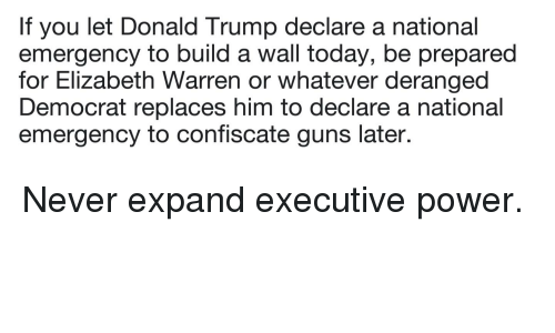 Donald Trump, Elizabeth Warren, and Guns: If you let Donald Trump declare a national  emergency to build a wall today, be prepared  for Elizabeth Warren or whatever deranged  Democrat replaces him to declare a national  emergency to confiscate guns later.