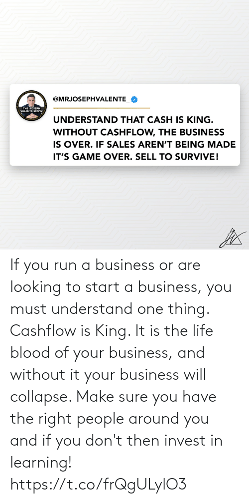 understand: If you run a business or are looking to start a business, you must understand one thing. Cashflow is King. It is the life blood of your business, and without it your business will collapse. Make sure you have the right people around you and if you don't then invest in learning! https://t.co/frQgULylO3