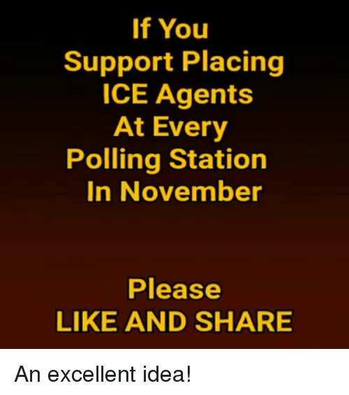 Idea, Ice, and You: If You  Support Placing  ICE Agents  At Every  Polling Station  In November  Please  LIKE AND SHARE An excellent idea!
