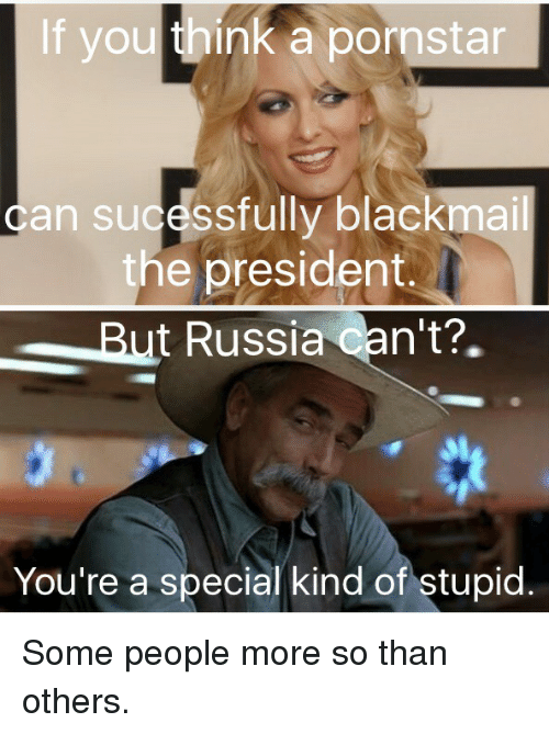 Politics, Russia, and Pornstar: If you think a pornstar  can sucessfully blackmail  the president.  But Russia Can't?.  You're a special kind of stupid Some people more so than others.