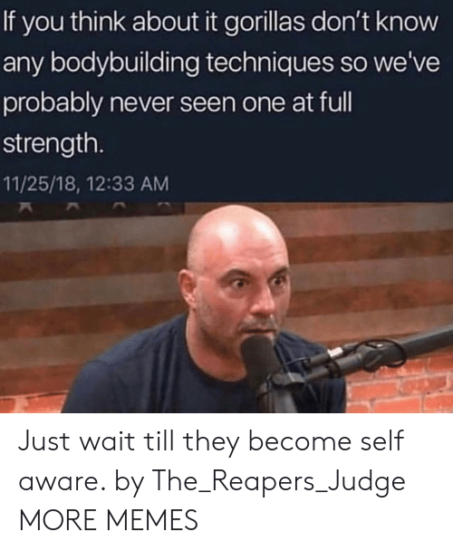 Techniques: If you think about it gorillas don't know  any bodybuilding techniques so we've  probably never seen one at ful  strength.  11/25/18, 12:33 AM Just wait till they become self aware. by The_Reapers_Judge MORE MEMES