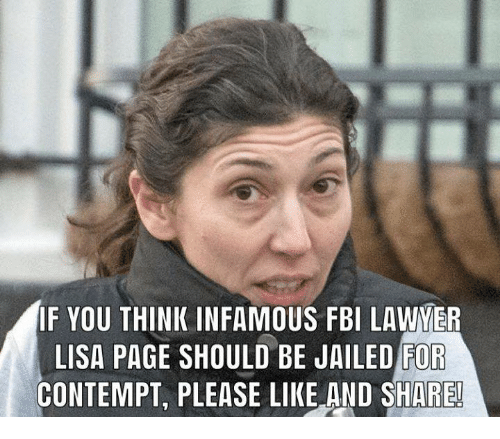 Fbi, Contempt, and Infamous: IF YOU THINK INFAMOUS FBI LAYER  LISA PAGE SHOULD BE JAILED FOR  CONTEMPT, PLEASE LIKE AND SHARE