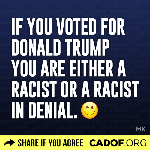 Donald Trump You: IF YOU VOTED FOR  DONALD TRUMP  YOU ARE EITHER A  RACIST OR A RACIST  IN DENIAL.  MK  SHARE IF YOU AGREE CADOF.ORG