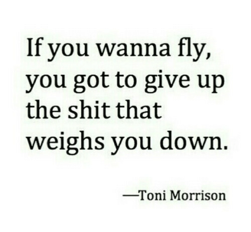 Toni Morrison: If you wanna fly,  you got to give up  the shit that  weighs you down  -Toni Morrison