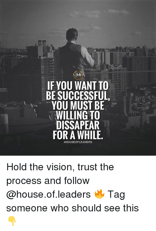 the vision: IF YOU WANT TO  BE SUCCESSFUL  YOU MUST BE  WILLING TO  DISSAPEAR  FOR A WHILE  Hold the vision, trust the process and follow @house.of.leaders 🔥 Tag someone who should see this 👇