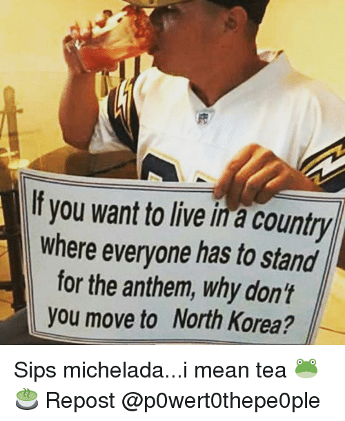 Memes, North Korea, and Live: If you want to live in a country  where everyone has to stand  for the anthem, why don't  you move to North Korea? Sips michelada...i mean tea 🐸🍵 Repost @p0wert0thepe0ple
