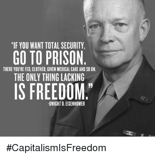 "dwight d eisenhower: ""IF YOU WANT TOTAL SECURITY,  GO TO PRISON  THERE YOU'RE FED, CLOTHED, GIVEN MEDICAL CARE AND SOON.  THE ONLY THING LACKING  IS FREEDOM  DWIGHT D. EISENHOWER #CapitalismIsFreedom"
