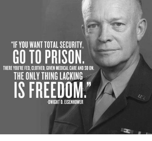 "dwight d eisenhower: ""IF YOU WANT TOTAL SECURITY,  GO TO PRISON  THERE YOU'RE FED, CLOTHED, GIVEN MEDICAL CARE AND SOON.  THE ONLY THING LACKING  IS FREEDOM  DWIGHT D. EISENHOWER"