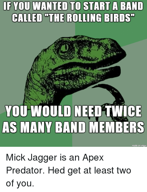 """Mick Jagger: IF YOU WANTED TO  CALLED """"THE  START A BAND  ROLLING BIRDS  YOU WOULD NEED TWICE  AS MANY BAND MEMBERS  made on imqur Mick Jagger is an Apex Predator. Hed get at least two of you."""