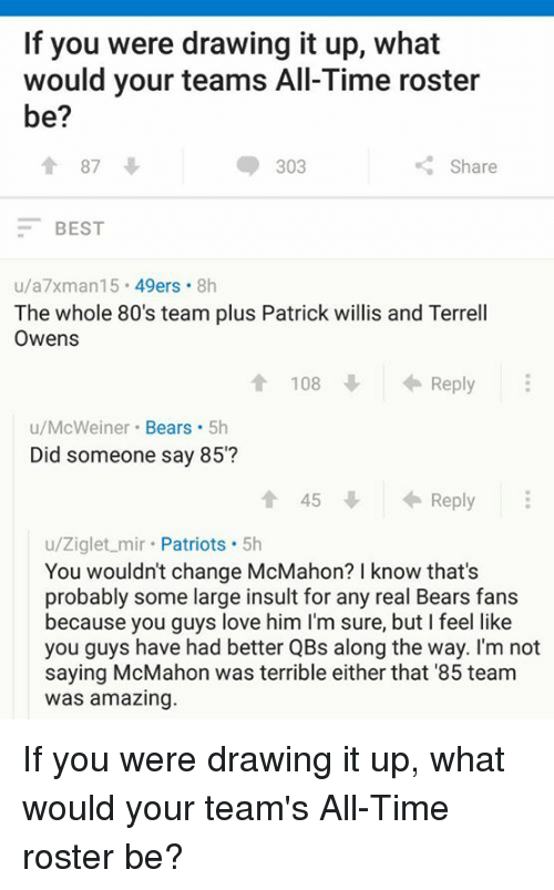 patrick willis: If you were drawing it up, what  would your teams All-Time roster  be?  87  303  Share  BEST  u/a7xman15  49ers  8h  The whole 80's team plus Patrick willis and Terrell  Owens  Reply  108  u/McWeiner  Bears  5h  Did someone say 85'?  Reply  u/Ziglet mir  Patriots  5h  You wouldn't change McMahon? I know that's  probably some large insult for any real Bears fans  because you guys love him l'm sure, but feel like  you guys have had better QBs along the way. I'm not  saying McMahon was terrible either that '85 team  Was amazing If you were drawing it up, what would your team's All-Time roster be?
