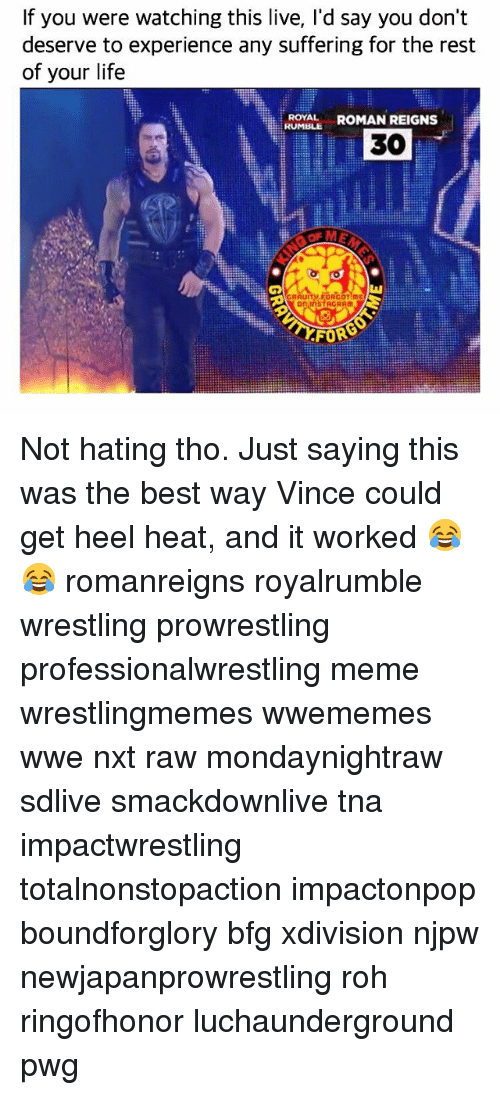 Roman Reigns: If you were watching this live, I'd say you don't  deserve to experience any suffering for the rest  of your life  ROYAL ROMAN REIGNS  RUMBLE  30  觖  on InSTAGRAM  FORG Not hating tho. Just saying this was the best way Vince could get heel heat, and it worked 😂😂 romanreigns royalrumble wrestling prowrestling professionalwrestling meme wrestlingmemes wwememes wwe nxt raw mondaynightraw sdlive smackdownlive tna impactwrestling totalnonstopaction impactonpop boundforglory bfg xdivision njpw newjapanprowrestling roh ringofhonor luchaunderground pwg