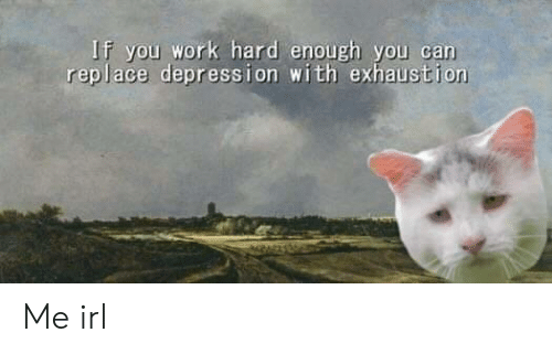 Work, Depression, and Irl: If you work hard enough you can  replace depression with exhaustion Me irl