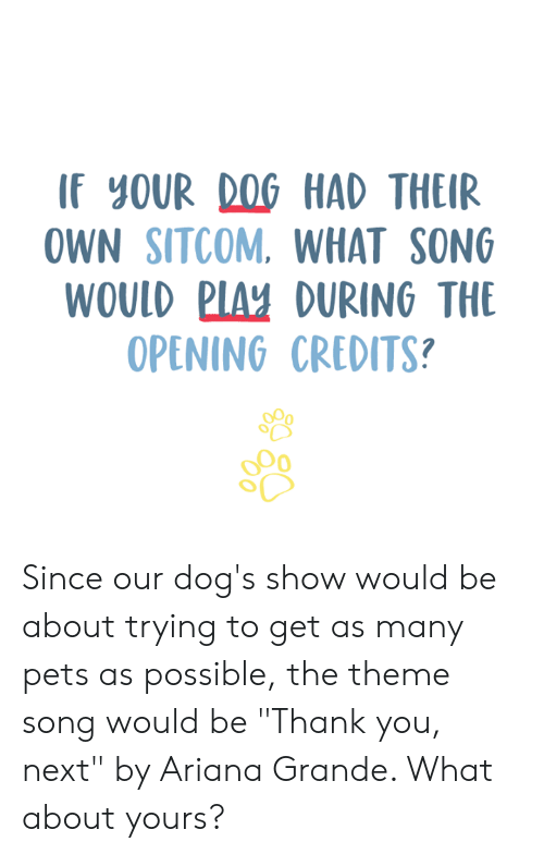 """Ariana Grande, Dogs, and Memes: IF YOUR DOG HAD THEIR  OWN SITCOM. WHAT SONG  WOULD PIAY DURING THE  OPENING CREDITS? Since our dog's show would be about trying to get as many pets as possible, the theme song would be """"Thank you, next"""" by Ariana Grande. What about yours?"""