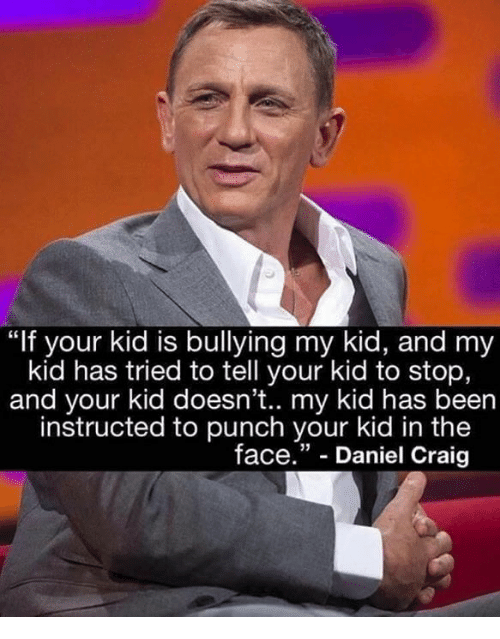 "Memes, Craig, and Been: ""If your kid is bullying my kid, and my  kid has tried to tell your kid to stop,  and your kid doesn't.. my kid has been  instructed to punch your kid in the  face."" - Daniel Craig"