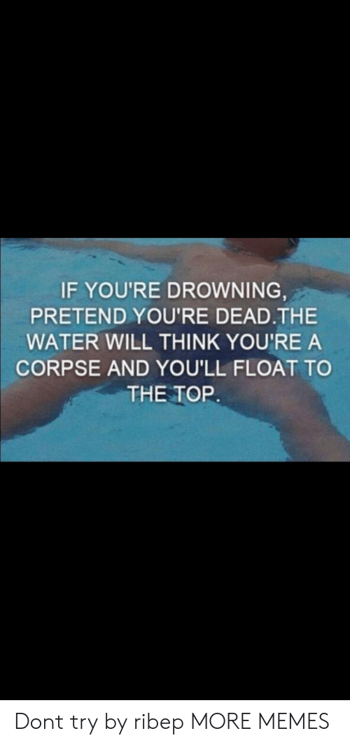 youre dead: IF YOU'RE DROWNING  PRETEND YOU'RE DEAD.THE  WATER WILL THINK YOU'RE A  CORPSE AND YOU'LL FLOAT TO  THE TOR Dont try by ribep MORE MEMES