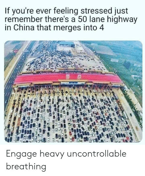 Engage: If you're ever feeling stressed just  remember there's a 50 lane highway  in China that merges into 4 Engage heavy uncontrollable breathing