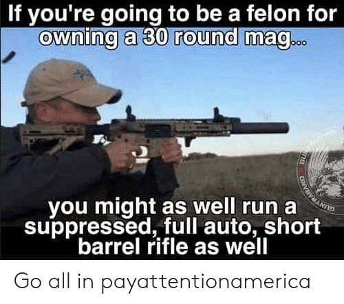 Rifle: If you're going to be a felon for  ownina a 30 round ma@  vou might as well run a  suppressed, full auto, short  barrel rifle as well Go all in payattentionamerica