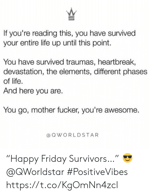 "Friday, Life, and Awesome: If you're reading this, you have survived  your entire life up until this point.  You have survived traumas, heartbreak,  devastation, the elements, different phases  of life.  And here you are.  You go, mother fucker, you're awesome.  QWORLDSTAR ""Happy Friday Survivors…""  😎 @QWorldstar #PositiveVibes https://t.co/KgOmNn4zcl"