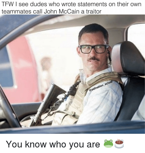 Memes, John McCain, and 🤖: IFWI see dudes who wrote statements on their own  teammates call John McCain a traitor  oafnation You know who you are 🐸☕️