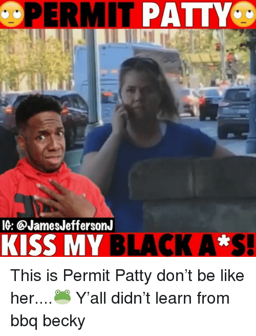 Be Like, Memes, and Black: IG: @JamesJeffersonJ  KISS MY BLACK A*S. This is Permit Patty don't be like her....🐸 Y'all didn't learn from bbq becky