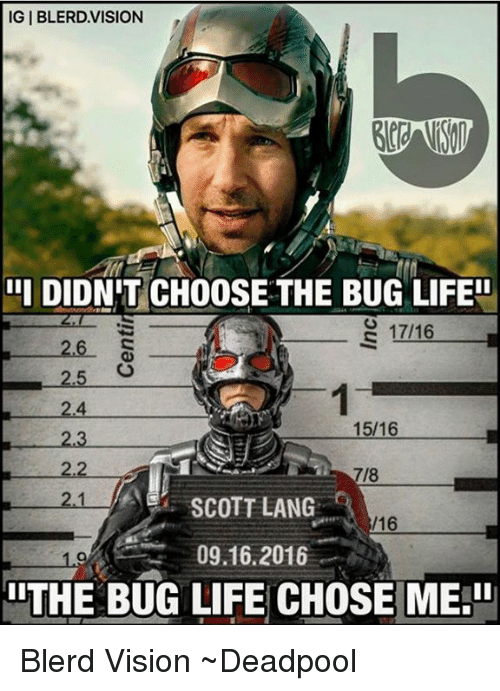 "lithe: IGIBLERD.VISION  DIDN'T CHOOSE THE BUG LIFE""  III 2.4  15/16  2.3  2.2  SCOTT LANG  16  09.16.2016  lITHE BUG LIFE CHOSE ME."" Blerd Vision  ~Deadpool"