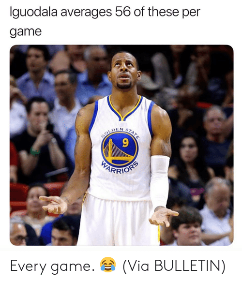 Nba, Game, and Via: Iguodala averages 56 of these per  game  9  RRIO Every game. 😂  (Via ‪BULLETlN)