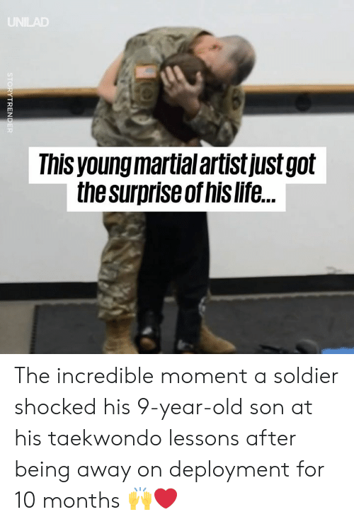 The Incredible: Ihis young martial artistjustgolt  the surpriseof his life. The incredible moment a soldier shocked his 9-year-old son at his taekwondo lessons after being away on deployment for 10 months 🙌❤️️