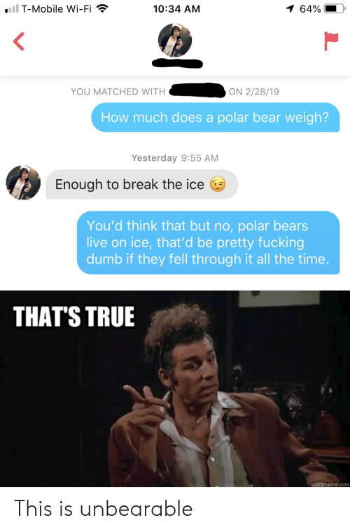 quickmeme: iil T-Mobile Wi-Fi  1 64%  10:34 AM  YOU MATCHED WITH  ON 2/28/19  How much does a polar bear weigh?  Yesterday 9:55 AM  Enough to break the ice  You'd think that but no, polar bears  live on ice, that'd be pretty fucking  dumb if they fell through it all the time.  THAT'S TRUE  quickmeme.com This is unbearable