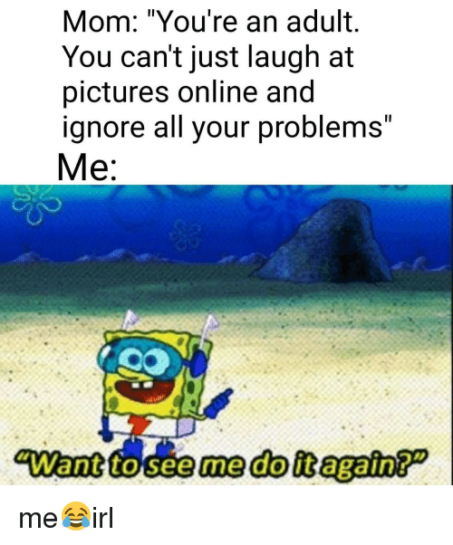"Just Laugh: Il  Mom: ""You're an adult.  You can't just laugh at  pictures online and  ignore all your problemS  Me  Il me😂irl"