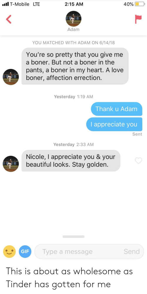 Beautiful, Boner, and Gif: Il T-Mobile LTE  2:15 AM  Adam  YOU MATCHED WITH ADAM ON 6/14/18  You're so pretty that you give me  a boner. But not a boner in the  pants, a boner in my heart. A love  boner, affection errection.  Yesterday 1:19 AM  Thank u Adam  I appreciate you  Sent  Yesterday 2:33 AM  Nicole, I appreciate you & your  beautiful looks. Stay golden.  GIF  Type a message  Send This is about as wholesome as Tinder has gotten for me