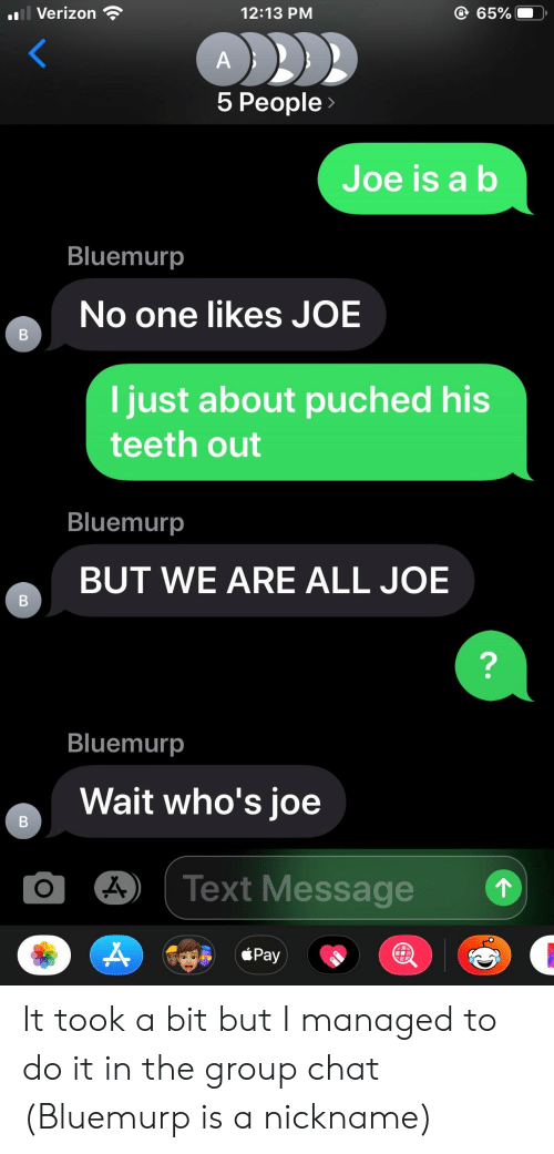 Teeth Out: il Verizon  @65%  12:13 PM  A  5 People>  Joe is a b  Bluemurp  No one likes JOE  В  I just about puched his  teeth out  Bluemurp  BUT WE ARE ALL JOE  ?  Bluemurp  Wait who's joe  Text Message  Pay  B  B It took a bit but I managed to do it in the group chat (Bluemurp is a nickname)