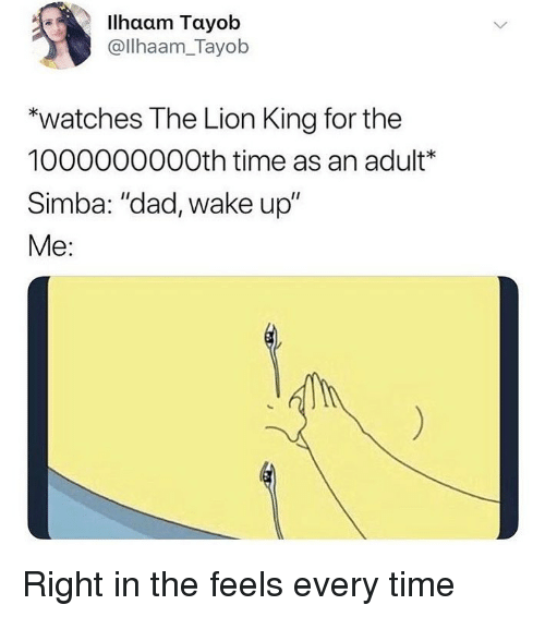 """Dad, Funny, and The Lion King: Ilhaam Tayob  @llhaam_Tayob  """"watches The Lion King for the  1000000000th time as an adult*  Simba: """"dad, wake up""""  Me: Right in the feels every time"""