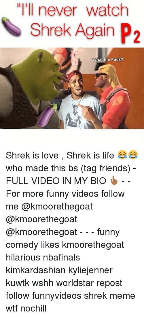 "shrek meme: ""I'll never watch  Shrek Again P2  What the Fuck? Shrek is love , Shrek is life 😂😂 who made this bs (tag friends) -FULL VIDEO IN MY BIO 👆🏾 - - For more funny videos follow me @kmoorethegoat @kmoorethegoat @kmoorethegoat - - - funny comedy likes kmoorethegoat hilarious nbafinals kimkardashian kyliejenner kuwtk wshh worldstar repost follow funnyvideos shrek meme wtf nochill"