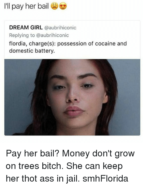 Ass, Bitch, and Jail: I'll pay her bail  DREAM GIRL  a aubrihiconic  Replying to @aubrihiconic  flordia, charge (s): possession of cocaine and  domestic battery Pay her bail? Money don't grow on trees bitch. She can keep her thot ass in jail. smhFlorida