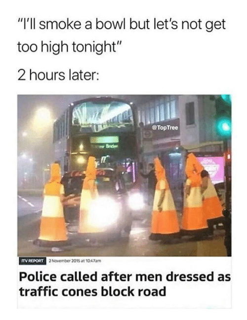 """Memes, Police, and Traffic: """"I'll smoke a bowl but let's not get  too high tonight""""  2 hours later:  @TopTree  TV REPORT  2 November 2015 at 1047am  Police called after men dressed as  traffic cones block road"""