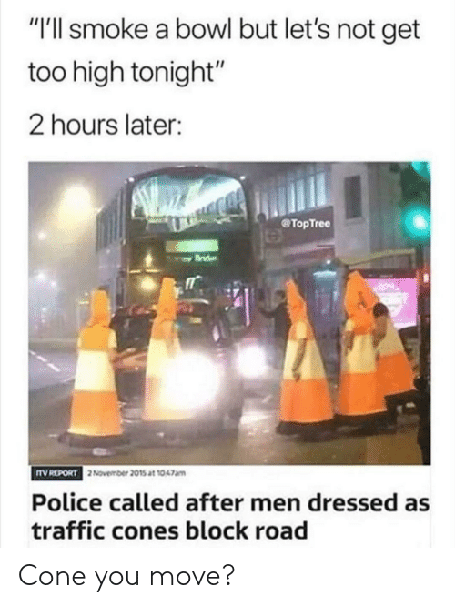 """Too High: """"I'll smoke a bowl but let's not get  too high tonight""""  2 hours later:  TopTree  TV REPORT  2November 2015 at 1047am  Police called after men dressed as  traffic cones block road Cone you move?"""